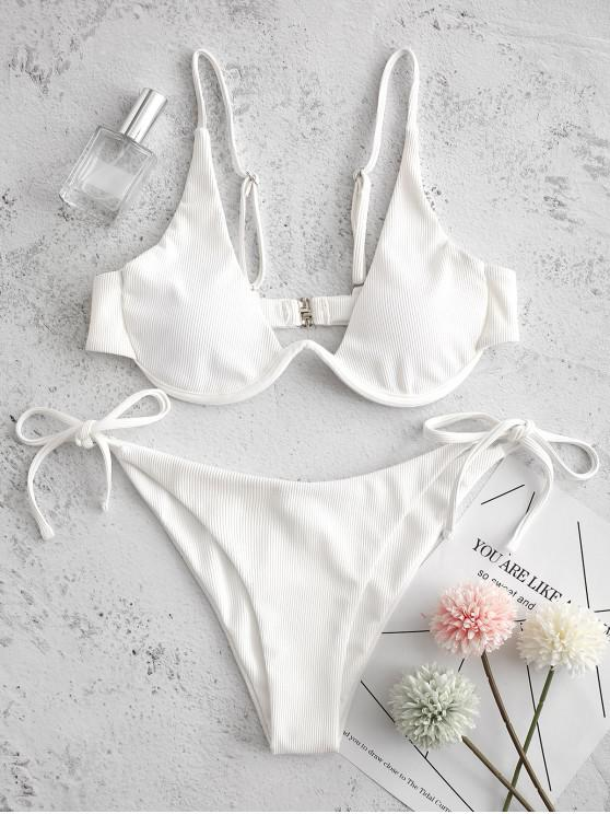 lady ZAFUL Tie Side Underwire Ribbed Bikini Swimsuit - WHITE M