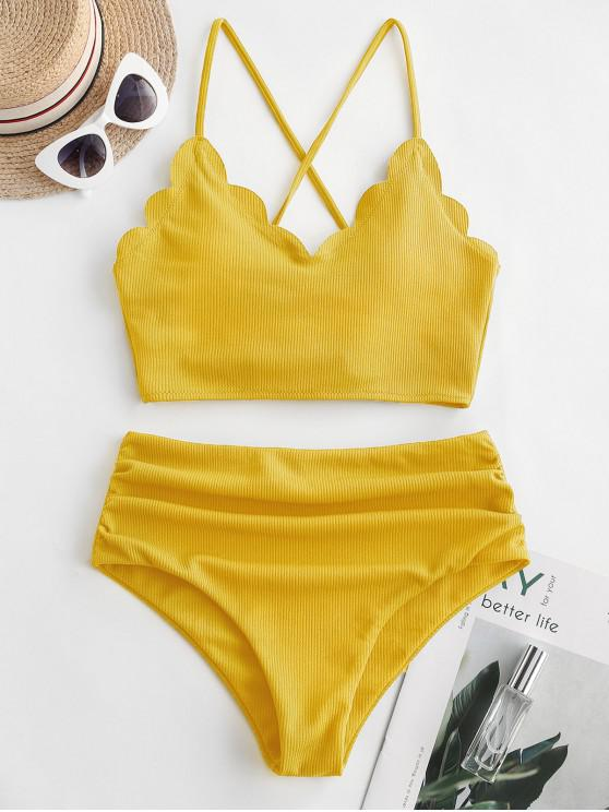 latest ZAFUL Ribbed Scalloped Lace Up Tummy Control Tankini Swimsuit - RUBBER DUCKY YELLOW L