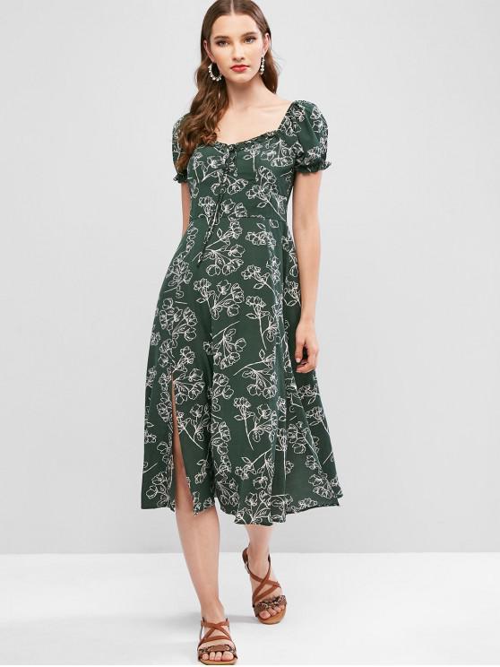 ZAFUL С цветочным принтом С разрезом Миди-Платье - Средний лес-зеленый L