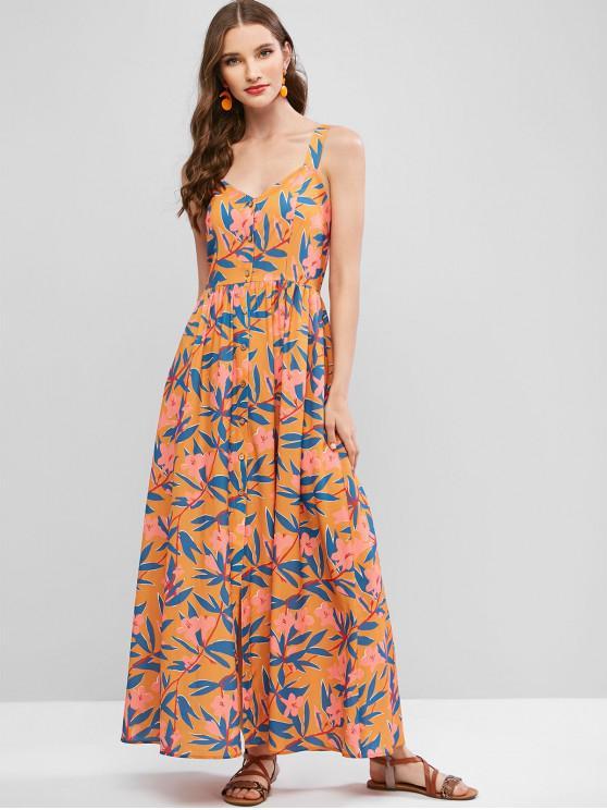 outfit ZAFUL Floral Print Buttoned Sleeveless Maxi Dress - GOLDEN BROWN XL