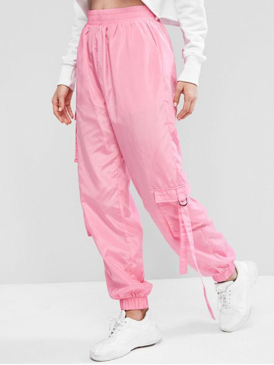 online ZAFUL Solid Color Pockets Jogger Pants - PINK XL