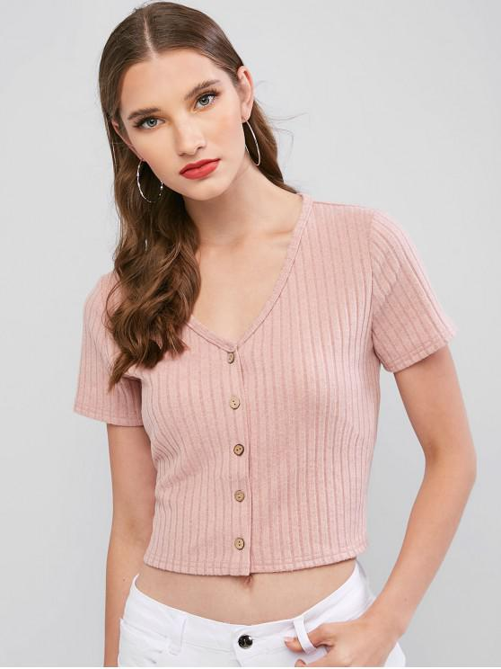 fashion ZAFUL Button Up Solid Crop Tee - ROSE L