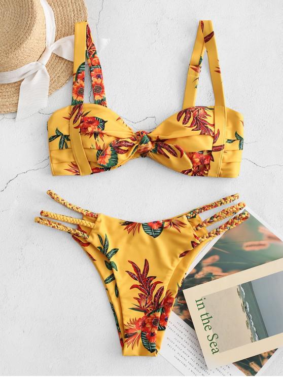 ZAFUL مزين مطوي مصنع طباعة بيكيني ملابس السباحة - خردل L