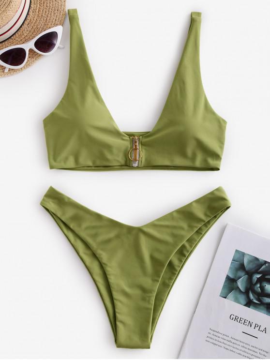 hot ZAFUL Pull-ring High Leg Bikini Swimsuit - GREEN SNAKE L