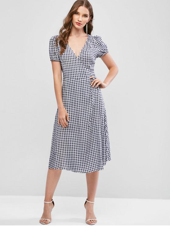 sale ZAFUL Plaid Plunging Midi Wrap Dress - MULTI-B S