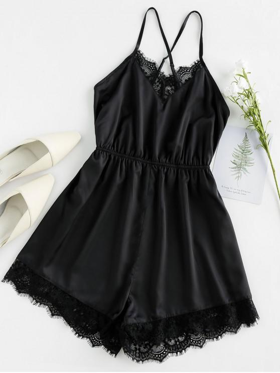 latest ZAFUL Eyelash Lace Crisscross Cami Romper - BLACK M