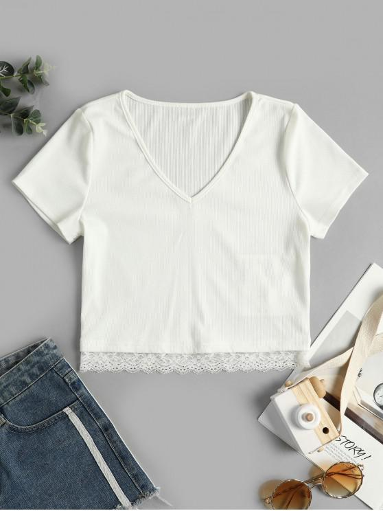 new ZAFUL Ribbed Lace Panel Crop Tee - WHITE L