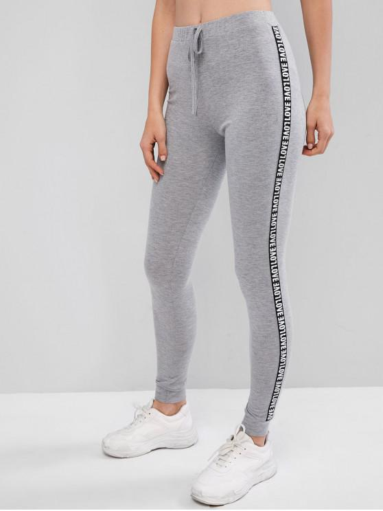 latest ZAFUL Letter Patched Heathered Tied Leggings - GRAY CLOUD L
