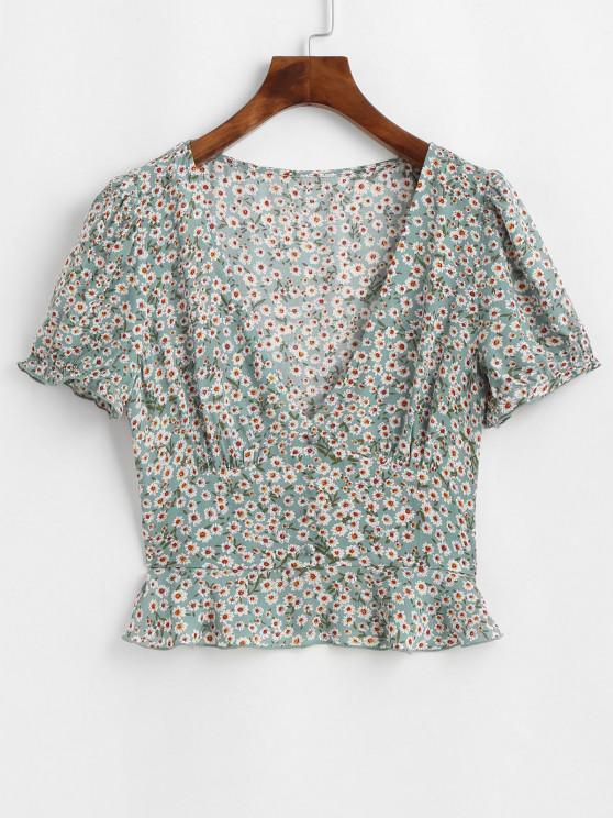 shop ZAFUL Ditsy Floral Flounce Short Sleeve Blouse - PALE BLUE LILY M