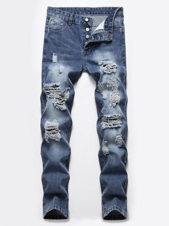 Jeans Rasgados Botón Rasgado - Azul Oscuro de Denim 32