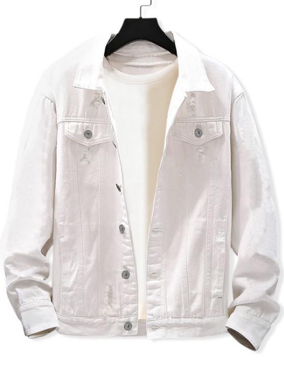 unique Casual Destroy Wash Ripped Denim Jacket - WHITE L