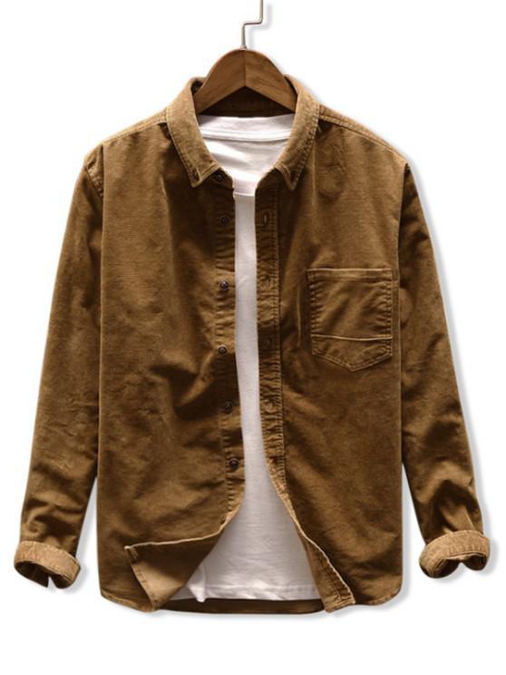fashion Solid Color Pocket Corduroy Shirt - KHAKI M