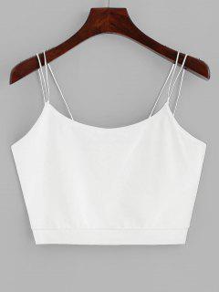 ZAFUL Solid Color Crop Strappy Cami Top - White L