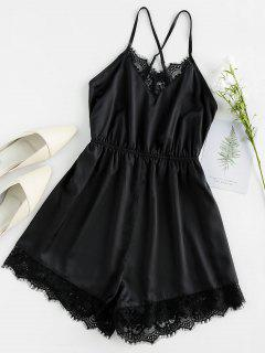 ZAFUL Eyelash Lace Crisscross Cami Romper - Black M