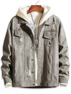 Casual Destroy Wash Ripped Denim Jacket - Gray Xs