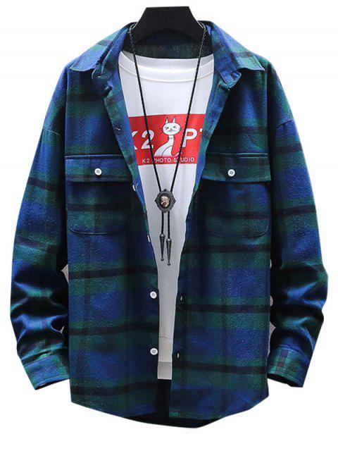 Tela escocesa del botón de impresión Hasta bolsillo de la camisa - Verde M Mobile