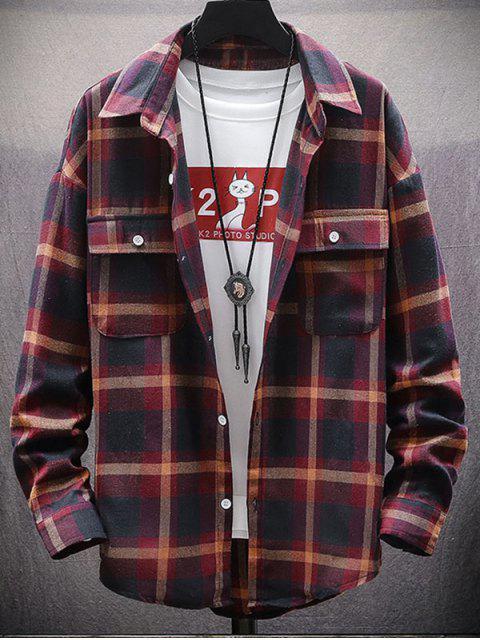 Kariertes Druck Knopf Oben Tasche Shirt - Rot L Mobile