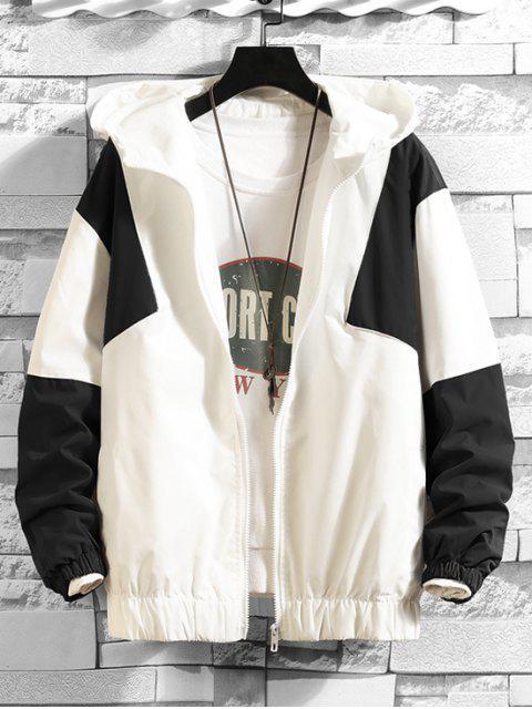 Color de la camisa empalmado diseño de la cremallera con capucha - Blanco 2XL Mobile
