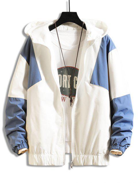 Color de la camisa empalmado diseño de la cremallera con capucha - Azul 3XL Mobile