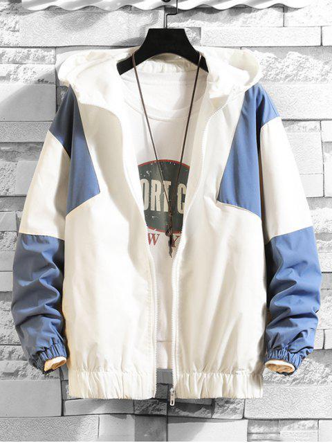 Farbe Gespleißter Reißverschluss Design mit Kapuze Jacke - Blau 3XL Mobile
