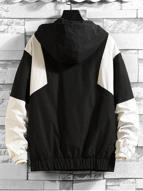 Farbe Gespleißter Reißverschluss Design mit Kapuze Jacke - Schwarz XL Mobile