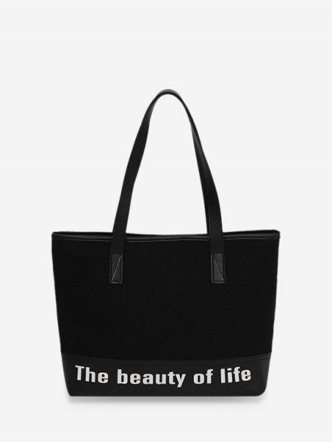 Bolsa de hombro de la lona impresión de la letra de gran capacidad - Negro  Mobile
