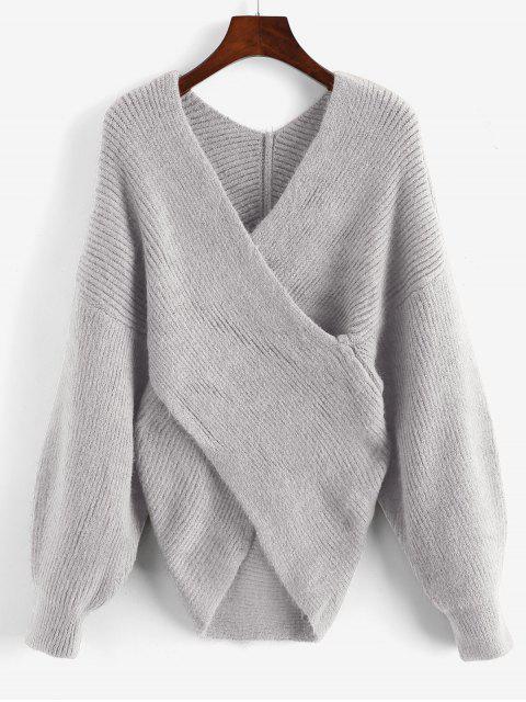 Solides Pullover mit V Ausschnitt - Hellgrau Eine Größe Mobile