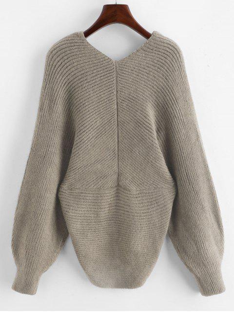 V Ausschnitt Überlappung Einfarbiger Pullover - Khaki Eine Größe Mobile