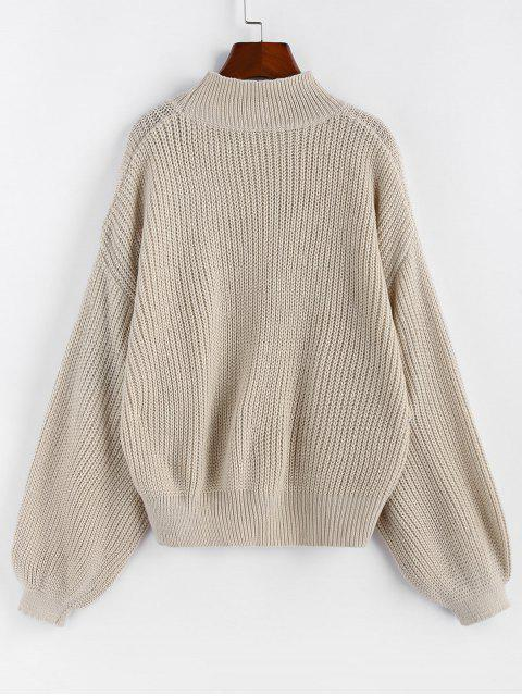 hot ZAFUL Drop Shoulder Lantern Sleeve Textured Sweater - WARM WHITE L Mobile