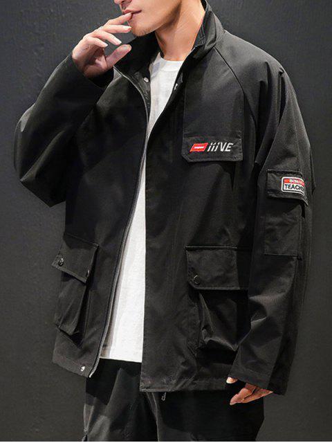 Patrón de la letra del bolsillo de la decoración de la cremallera de la chaqueta - Negro 3XL Mobile