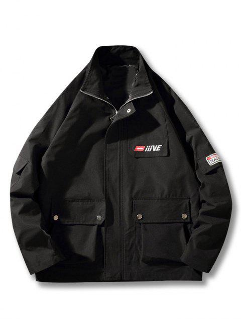 Buchstabenmuster Tasche Dekoration Reißverschluss Jacke - Schwarz 4XL Mobile