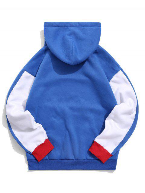 ZAFUL顏色阻斷落肩抓絨帽衫 - 藍色 2XL Mobile
