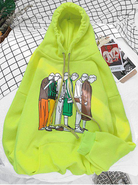 卡通圖形圖案連帽衫口袋 - 茶綠 2XL Mobile