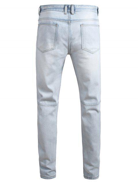 Zerstörte Loch Dekoration Knopf Jeans - Jeans Blau 42 Mobile