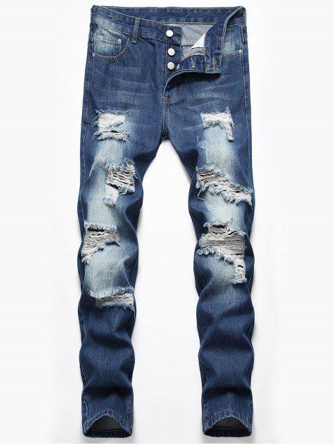 new Destroyed Design Button Fly Jeans - DENIM DARK BLUE 32 Mobile