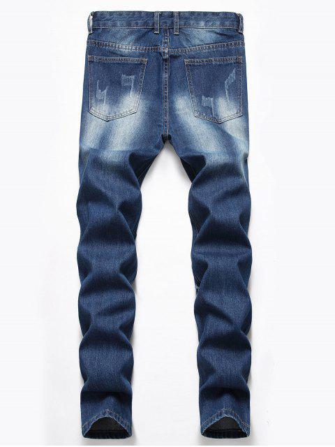 被毀壞的設計扣飛牛仔褲 - 牛仔布深藍色 42 Mobile