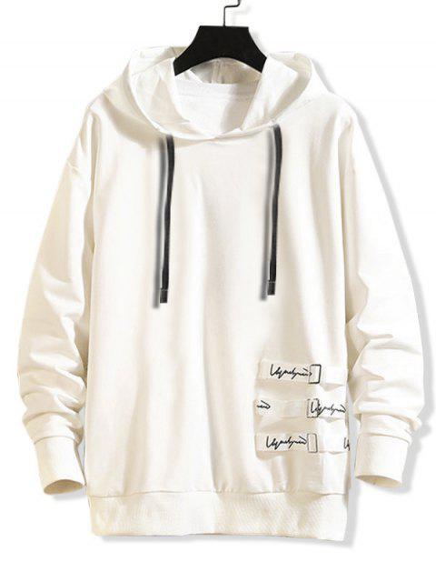 字母圖樣休閒風格連帽外套 - 白色 L Mobile