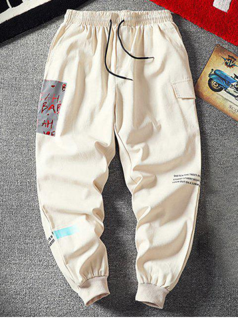信打印鬆緊腰圍休閒褲 - 白色 4XL Mobile