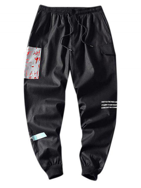 Pantalones Casuales Cintura Elástica Estampado Letras - Negro 4XL Mobile