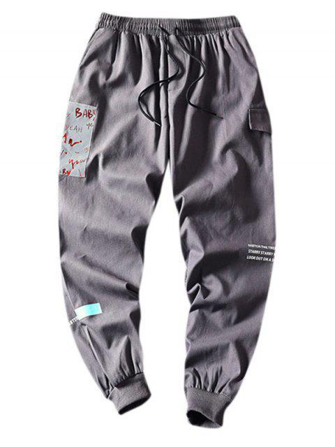 信打印鬆緊腰圍休閒褲 - 灰色 4XL Mobile