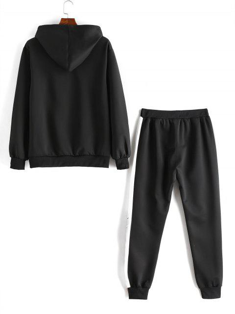 Colorblock字母刺繡夾克和褲子慢跑者 - 黑色 S Mobile
