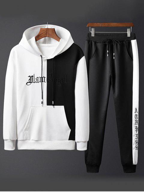 Colorblock字母刺繡夾克和褲子慢跑者 - 白色 S Mobile