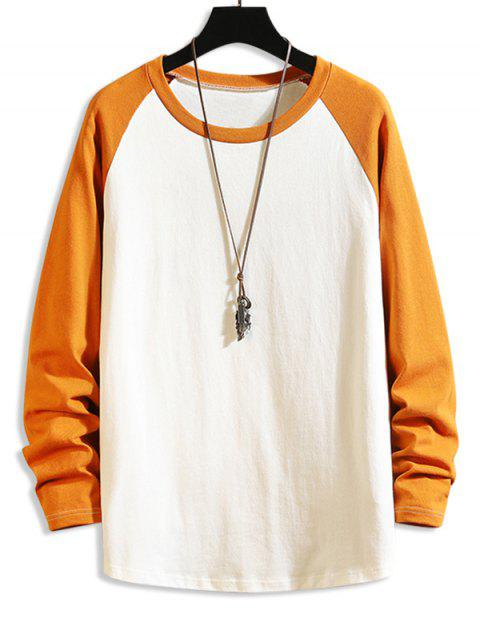 women Color Blocking Drop Shoulder Long-sleeved T-shirt - BEE YELLOW S Mobile