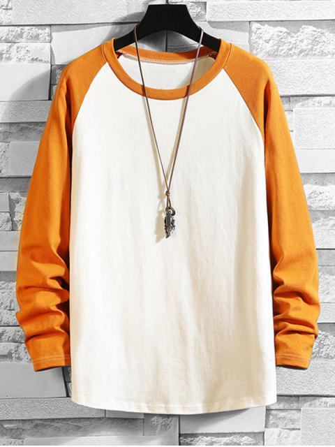 new Color Blocking Drop Shoulder Long-sleeved T-shirt - BEE YELLOW XL Mobile