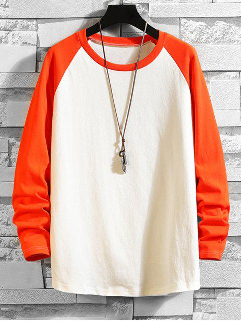 womens Color Blocking Drop Shoulder Long-sleeved T-shirt - LIVING CORAL 2XL Mobile