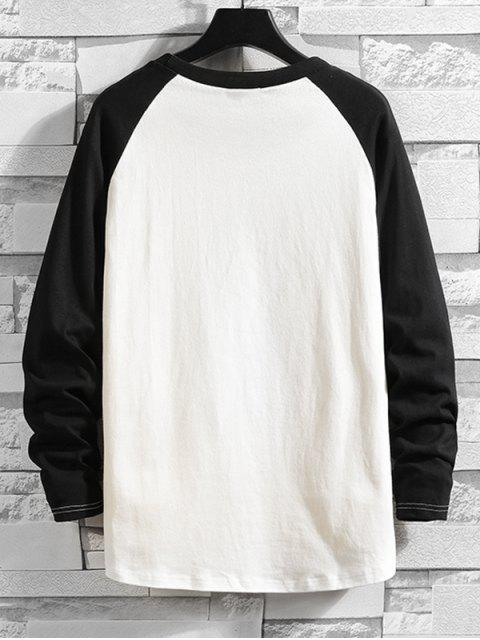 色塊落肩長袖T卹 - 黑色 L Mobile