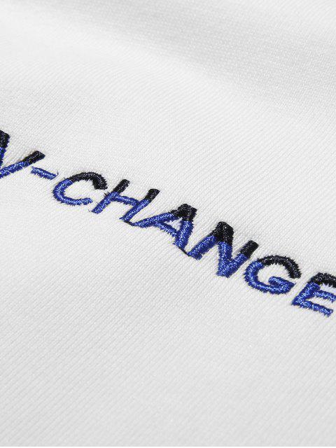 扣口袋字母刺繡落肩運動衫 - 白色 3XL Mobile