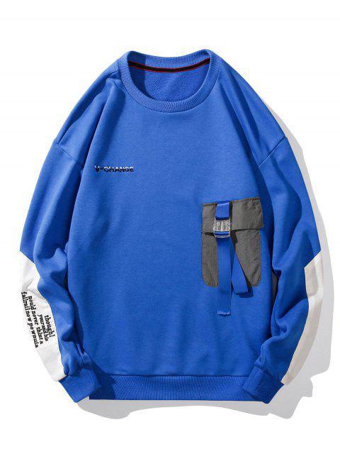 扣口袋字母刺繡落肩運動衫 - 藍色 2XL Mobile