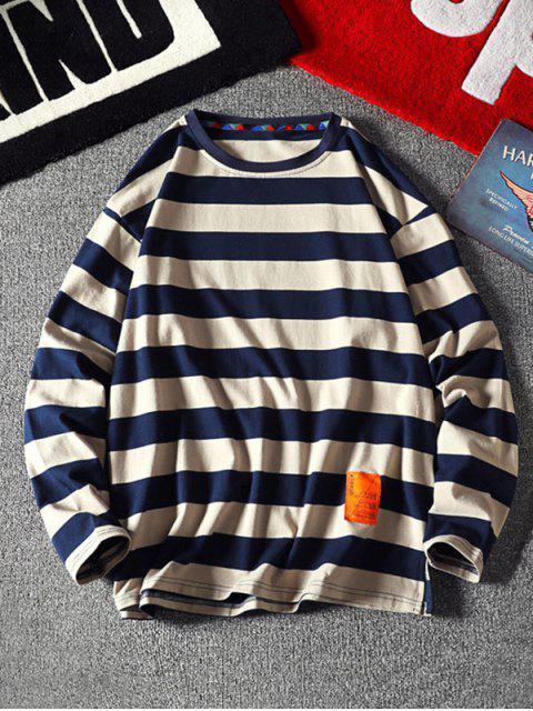 Sweatshirt mit Streifenmuster und Buchstabe Stil - Khaki XL Mobile