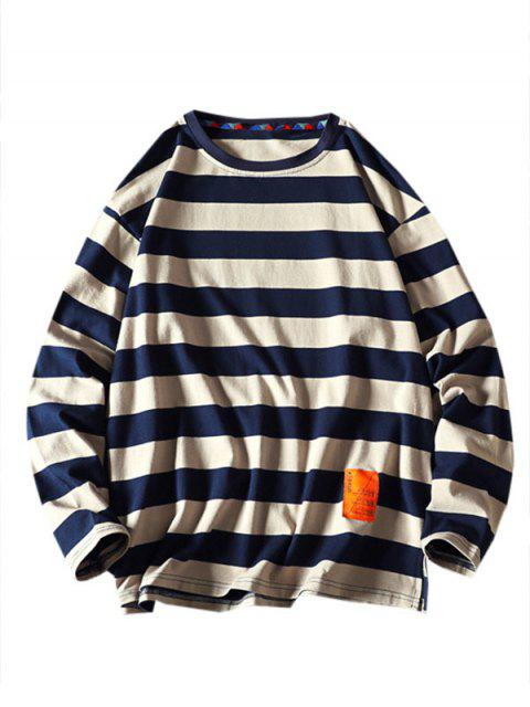 Gestreiftes Muster Buchstabe Design Sweatshirt - Khaki 3XL Mobile